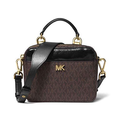 Michael Kors Mott Mini Small Calf Leather Crossbody Purse (Brown/Black Signature) (Mk Mini Leather Handbags)