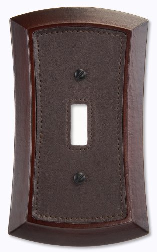 AmerTac 4042T 1 Toggle Napa Wood/Leather Wallplate, - Outlet Napa
