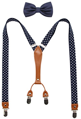 Biotetri Men Suspenders & Pre Tied Bowtie Set | Adjustable Straps, PU Leather (Navy-Dots)