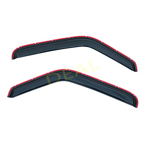 DEAL 2-piece set front door smoke vent window visor, side window deflector w/In-Channel tape-on type, custom fit for 94-10 Mazda B2300 B2500 B3000 B4000/ 93-11 Ford Ranger Regular & Extended Cab