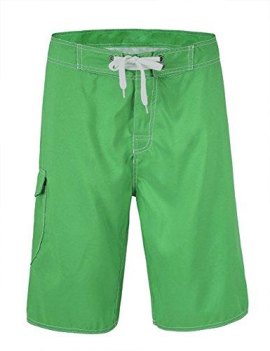 NONWE Men's Polyester Surfer Sports Boardshorts Deep Green 32 - Green Mens Boardshorts