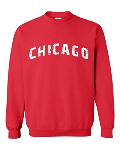 - Xekia Chicago illinois Distress Windy State Unisex Crewneck Sweatshirt Small Red