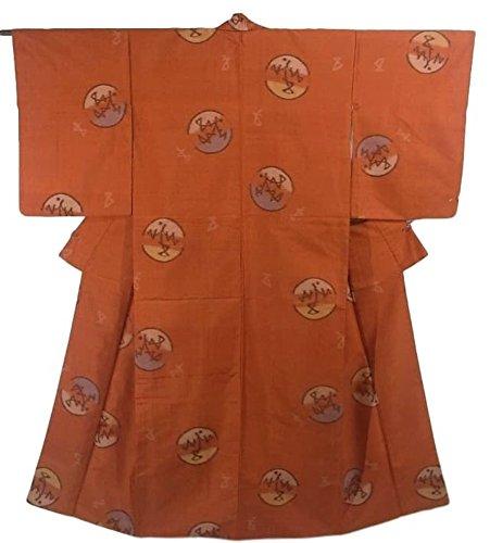 符号仲介者エクステントリサイクル 着物 銘仙 正絹 袷 丸に抽象的な模様 裄64cm 身丈151cm