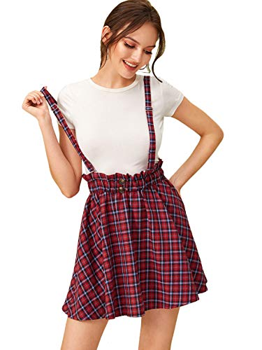 SheIn Women's Classic Tartan Plaid High Waist Suspender Skater Flare Short Skirt
