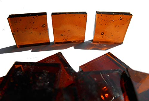 Brown Mosaic Glass - FortySevenGems 100 Pieces Stained Glass Mosaic Tiles 1/2-Inch Brown Cathedral Glass Textured
