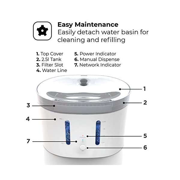 Home Zone Pet Water Fountain - Smart Wireless Water Fountain for Small Cats and Dogs, 2L 4