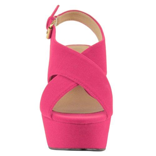 tacco Scamosciata plateau punta con medio zeppa forma Shocking aperta piatta taglia alto Scarpe sandali con DONNE Rosa 5pqaxFP