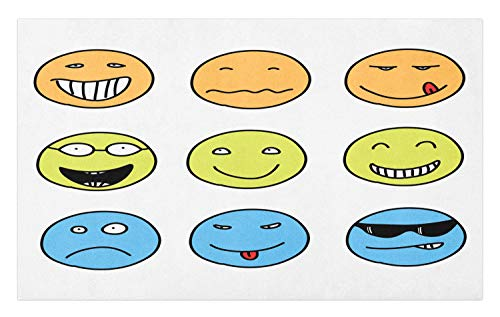 Lunarable Mood Doormat, Doodle Emotion Expressions Emoji Faces Happy Sad, Decorative Polyester Floor Mat with Non-Skid Backing,30