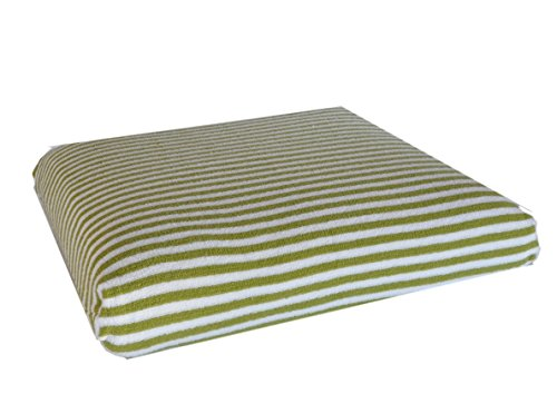 CushyChic Outdoors Slipcovers for Seat Bottom or Ottoman in Imperial Matcha Green/White Stripe