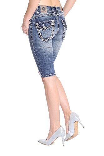 Pantalón Monkey Azul Capri Para Básico Blue Jeans Corto Mujer SEg6wdA
