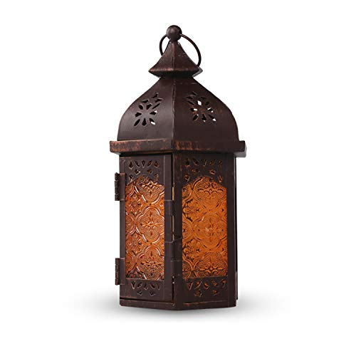 - HOWOLL Decorative Candle Lanterns Metal Tealight Amber Glass Outdoor Hanging Lantern Use As Decoration for Wedding and Birthday Parties (Brown)