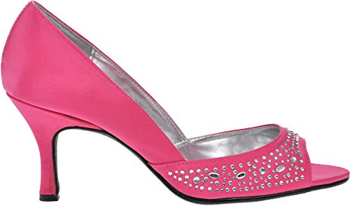 shoe diamonte front Z103 Shoe Medium Lily Ladies heatseal Toe Fuchsia heel Lexus with Peep on of 67qwdvwC