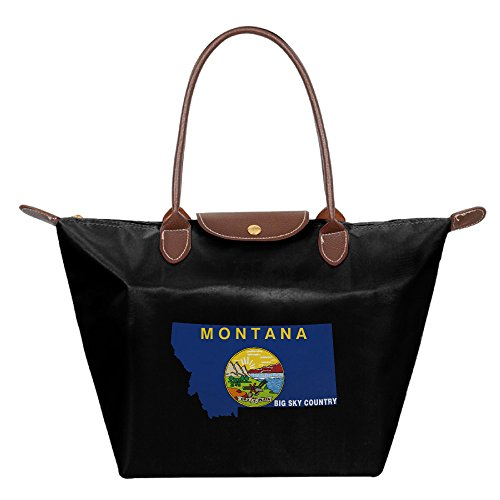 Women's Waterproof Nylon Foldable Large Tote Bag, Montana State Shopping Shoulder Handbags Black