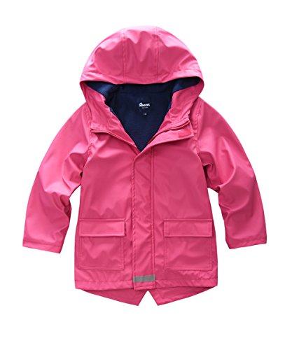 Hiheart Girls Waterproof Rain Jacket Fleece Lined Softshell Coat Rosy 8/9