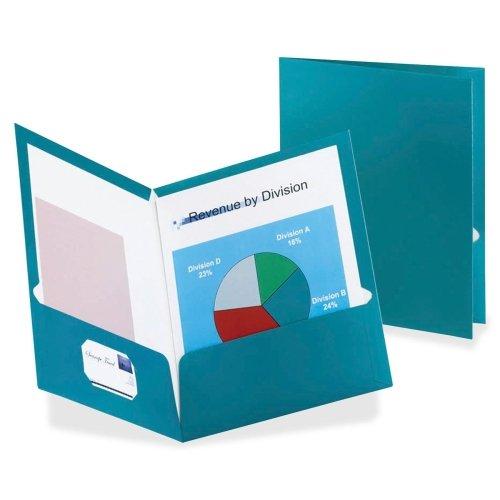 Wholesale CASE of 10 - Esselte Metallic Two Pocket Folders-Metallic Folder, 2 Pkt, 150 Sht Cap, 8-1/2''x11'', Teal