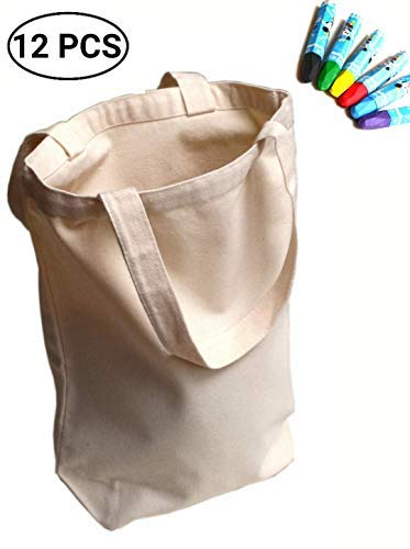 UpBrands 12 Pack Canvas Tote Bag DIY Kit Pure Color Suitable for Party Favors, Gift, Goodie Bags, Small Shopping Grocery (Sturdy 10 Oz), Mother's Day and Teacher's Gift Idea -