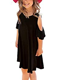 AYCGBHU Girl's Ruffle Cut Out Short Sleeve Loose Casual Tunic Shirt Swing Dress