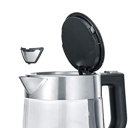 SEVERIN WK 3468 Glas-Wasserkocher (ca. 2.200 W, 1 L) edelstahl/schwarz 2