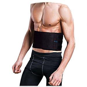 Waist Trainer Trimmer Shaper for Women Men Weight Loss, Ab Belt, Stomach Wrap Sauna Belts, Helps Abdominal Muscle & Workout Sweat Enhancer, ASOONYUM Back Lumbar Support, 3 Adjustable Hooks Black