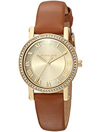 Women's 'Petite Norie' Quartz Stainless Steel and Leather Casual Watch, Color:Brown (Model: MK2697)