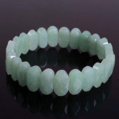 14mm Faceted green aventurine oval gemstone beads stretchable bracelet 7.5