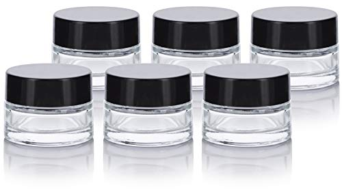 Clear Glass 0.25 oz Small Thick Wall Balm Jars with Black Foam Lined Smooth Lids (6 pack) ()