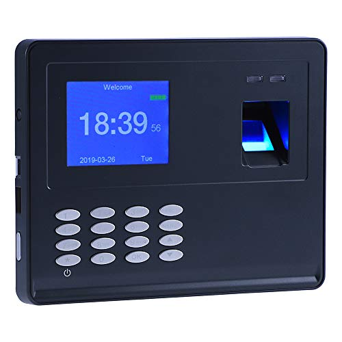 (Antner Fingerprint Time Attendance Clock Blackouts Still Work Biometric Attendance Machine USB Flash Disk Download Employee Payroll Recorder, Black)