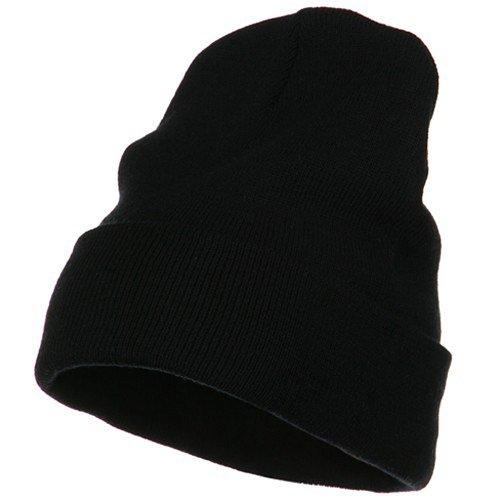 (e4Hats.com Big Size Acrylic Long Beanies-Black OSFM)