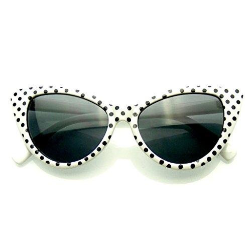 De Dot Eyewear® Emblem Gafas Ojo Super Moda Mod Polka Blanco Mujeres Sol Gato Gato ZHxvq