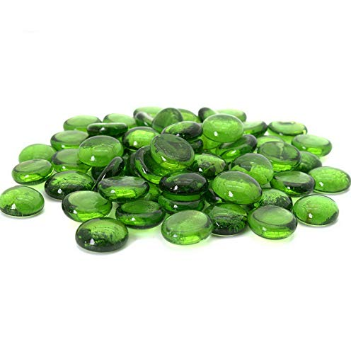(Mikash Green Flat Marbles, Pebbles, Glass Gems for Vase Fillers, Party Table Scatter, Wedding, Tion, Aquarium Decor, Crystal Rocks, or Crafts by, 5 LBS (Approx 400 pcs) | 5 LB Bag | Model WDDNG - 525)