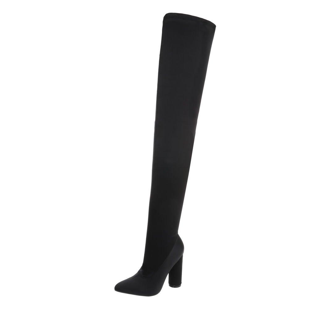 Ital-Design Overknees Damenschuhe Overknees Pump High Heels Reißverschluss Stiefel  36 EU|Schwarz JR-004