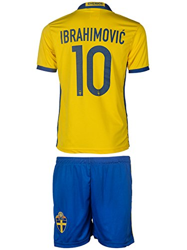 Sweden UEFA Euro 2016 #10 Ibrahimovic Home Soccer Kids Jersey & Shorts - Youth Sizes (XXL - (12-13 Ages))