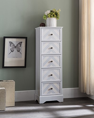 Kings Brand Furniture Wash White Finish Wood 5 Drawer Tall Accent Storage Cabinet -