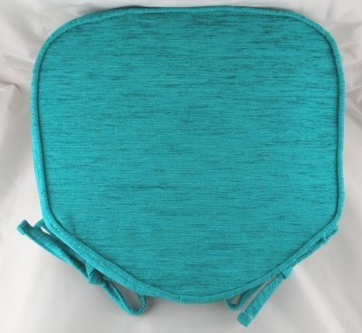 Superbe Luxury Blue Turquoise Chenille Seat / Chair Pads / Cushions With Piped  Edging