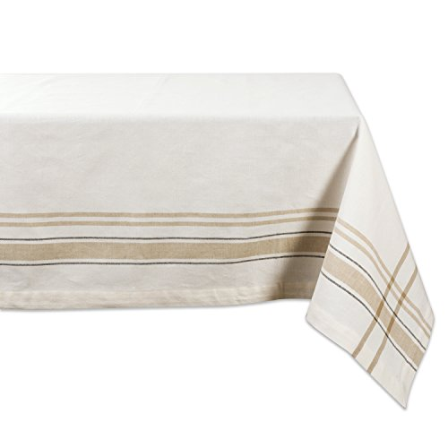 DII 100% Cotton, Machine Washable, Everyday French Stripe Kitchen Tablecloth for Dinner Parties, Summer & Outdoor Picnics - 60x84 Seats 6 to 8 People, White Chambray