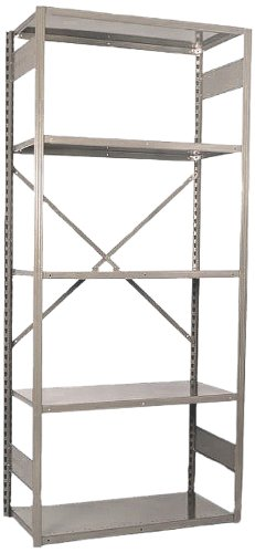 (Equipto 665-5S V-Grip 18-Gauge Heavy Duty Steel Open Shelf Starter Unit with 5 Shelves, 721 lbs Shelf Capacity, 36