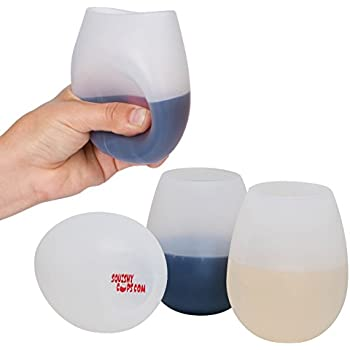 Unbreakable Silicone Wine Glasses - Set of 4 12 Ounce Stemless Rubber Squishy Cups by Jökel