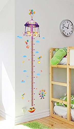 Cartoon Height Chart Decals Merry-Go-Round wall stickers for kids room nursery room