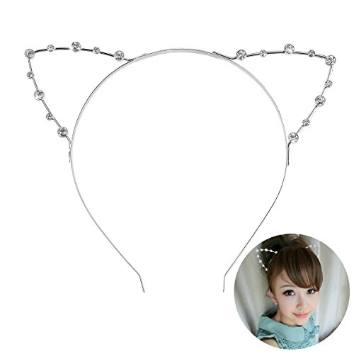 Pixnor Crystal Shape in Cat Ears Child Adult Hair Bands Silver]()