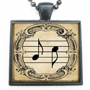 Sinfonia Musical Note Glass Tile Pendant Necklace with Black Chain
