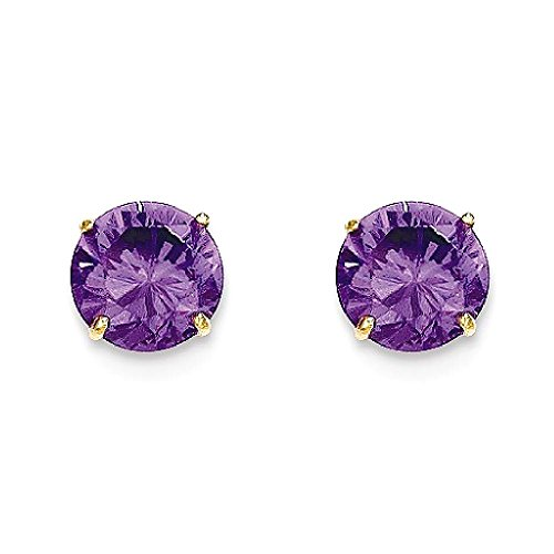ICE CARATS 14k Yellow Gold Round Purple Amethyst 6mm Post Stud Earrings Fine Jewelry Gift Set For Women Heart by ICE CARATS