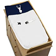 Sweet Jojo Designs Baby Changing Pad Cover for Navy Blue, Mint and Grey Woodsy Boys Collection