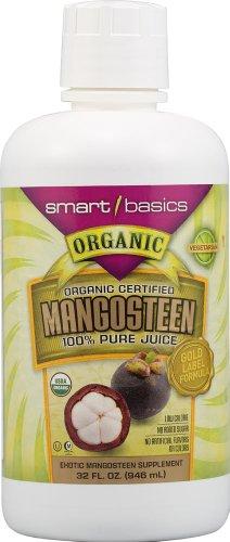 Smart Basics Organic Certified Mangosteen 100% Pure Juice -- 32 fl oz (Pure Organic Mangosteen Juice)