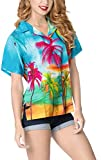 LA LEELA Women's Beach Button Down Short Sleeve Tunic Hawaiian Shirt M Blue_X210
