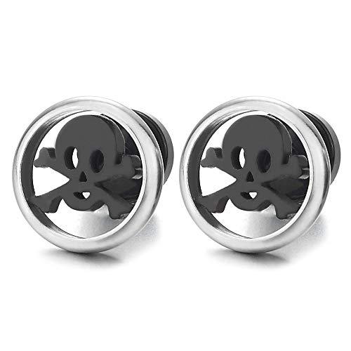 - Steel Flat Pirate Skull Circle Stud Earrings for Men Boys Women, Silver Black, Screw Back, Rock
