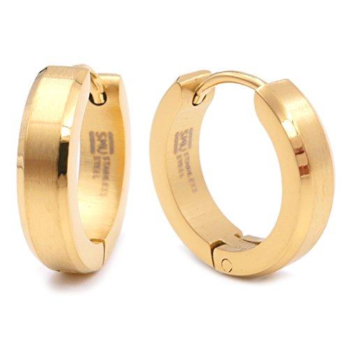Pair Stainless Steel Bevel Edge Hoop Huggie Men Earrings Gold Color 16mm