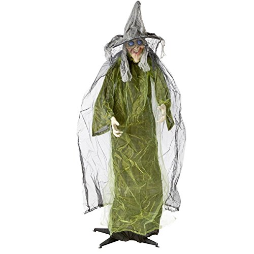 Life Size Animated Witch (Halloween Lifesize Animated Witch Standing Prop Decoration)