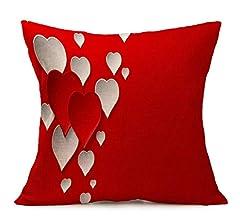 Fundas de Cojines,SHOBDW Regalo de San Valentin Amantes Que pintan Rojo Lino Tiro Cintura Funda de Almohada Cama sofá romántica Boda decoración del ...