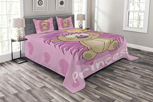 Lunarable Teen Girls Coverlet Set Queen Size, Adorable Crowned Princess and Hedgehog with Hearts Cartoon Characters, Decorative Quilted 3 Piece Bedspread Set with 2 Pillow Shams, Pink Beige Yellow