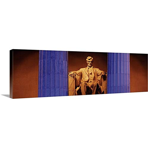 GREATBIGCANVAS Gallery-Wrapped Canvas Entitled Statue of Abraham Lincoln in a Memorial, Lincoln Memorial, Washington DC by 60